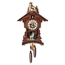 """Terry Doughty Wolf Art """"Sentinels Of The Forest"""" Wall Clock"""