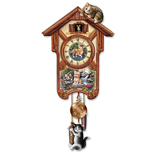 "Jürgen Scholz ""Happy Tails"" Kitten Art Wall Clock"