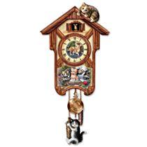 """Jürgen Scholz """"Happy Trails"""" Kitten Art Wall Clock"""