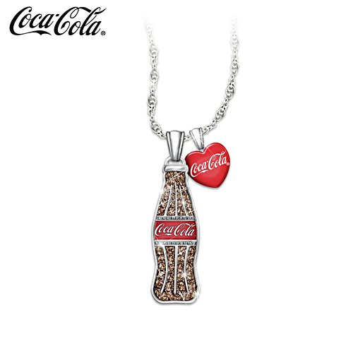 """COCA-COLA Crystal Bottle Pendant"" With Enameled Heart Charm"