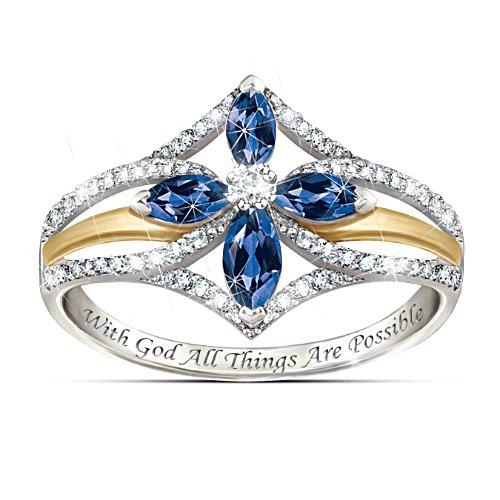 """The Promise Of Faith"" Sapphire Cross Ring"