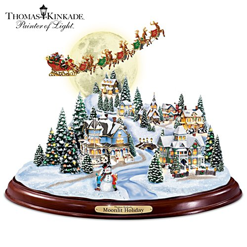 "Thomas Kinkade ""Moonlit Holiday"" Sculpture"