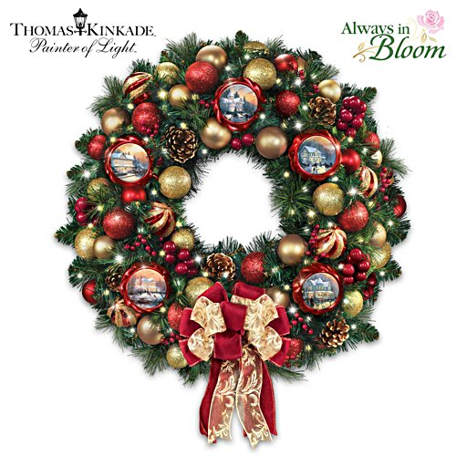"Thomas Kinkade ""Season Of Splendour"" Wreath"