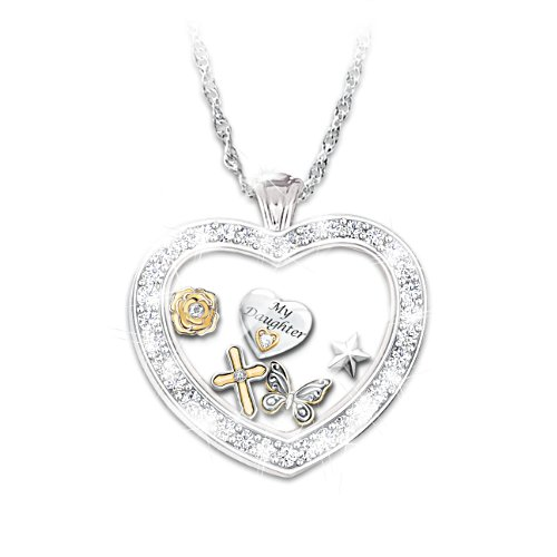 """Wishes For My Daughter"" Glass Heart Locket"
