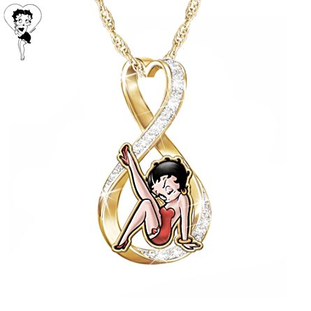 """Forever Betty Boop"" Swarovski Crystal Pendant Necklace"