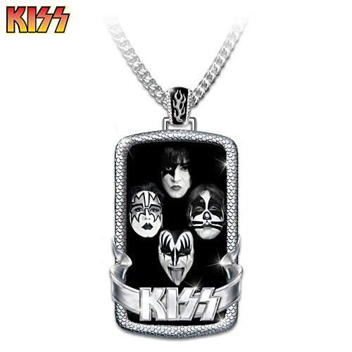 KISS Stainless Steel Dog Tag Pendant Necklace