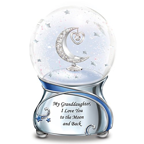 Granddaughter, I Love You To The Moon Musical Snow Globe