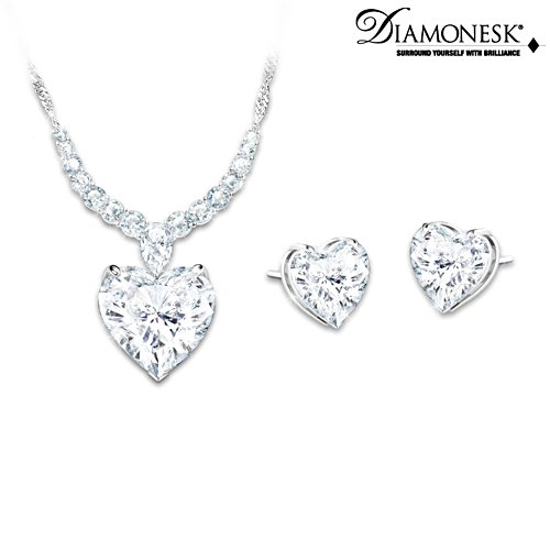 """Love At First Sight"" Diamonesk Necklace And Earrings Set"