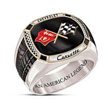 """Corvette: The Legend"" Men's Solid Stainless Steel Ring"