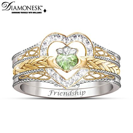 'Heart Of Ireland' Diamonesk Claddagh Stacking Ring