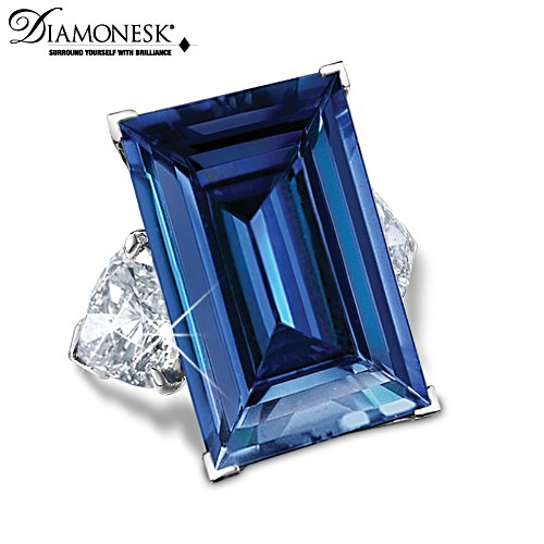 Blue Brilliance Diamonesk Simulated Sapphire Ring