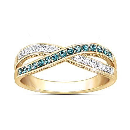 """Paradise"" Blue And White Diamond Ring"