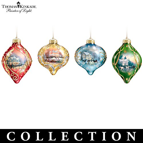 "Thomas Kinkade ""Light Up The Season"" Lighted Glass Ornament Collection"