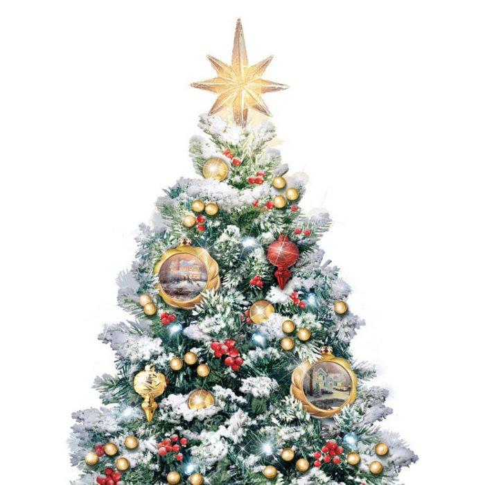 Albero Di Natale Sogno.Thomas Kinkade Notte Santa Il Sogno Di Natale
