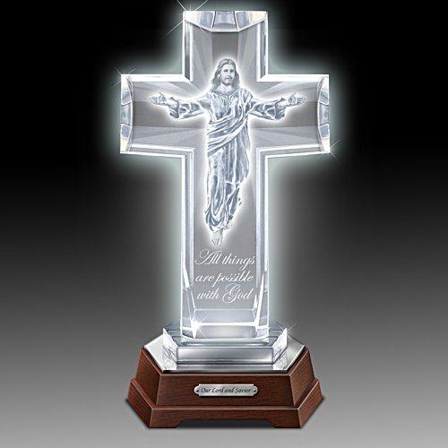 Seine himmlische Gnade – Beleuchtetes Glas-Kreuz