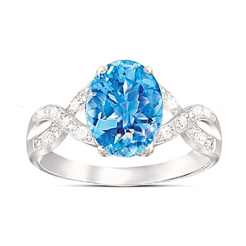 """Summer Breeze"" Blue Topaz & Diamond Ring"
