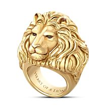 """""""Heart Of A Lion"""" 24K Gold Ion-Plated Ring"""