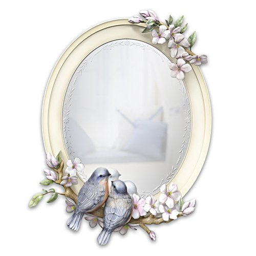 """Springtime Songbirds"" Etched-Style Sculpted Mirror"
