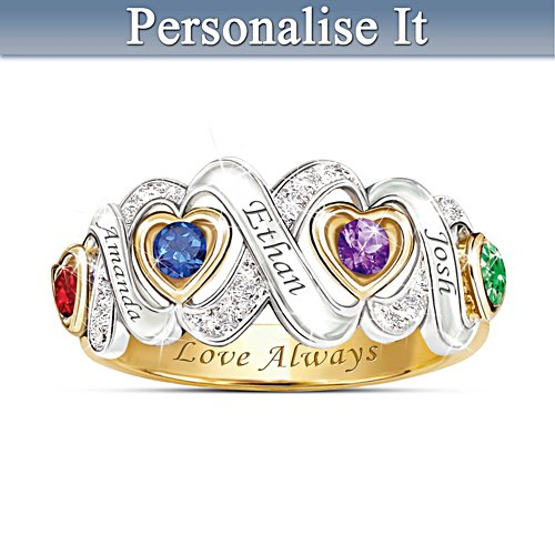 """Always My Family"" Engraved Personalised Birthstone Ring"