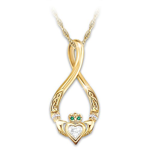 """Infinity"" Claddagh Gemstone Pendant Necklace"
