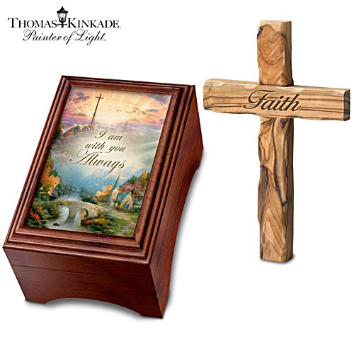 Thomas Kinkade Holy Land Olive Wood Cross And Music Box