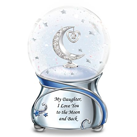 'Daughter, I Love You To The Moon' Music Glitter Globe