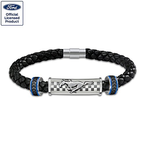 """Untamed American Spirit"" Ford Mustang Leather Bracelet"