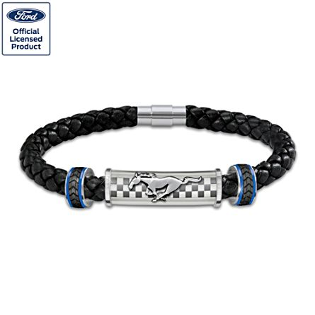 "Ford Mustang ""Untamed American Spirit"" Men's Leather Bracelet"