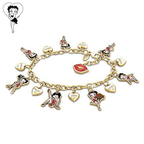 "Betty Boop ""Charming Appeal"" Charm Bracelet With Crystals"