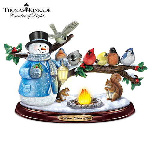 Thomas Kinkade Lighted Musical Snowman & Songbird Sculpture
