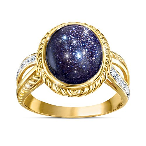 """Stars In The Night"" Blue Goldstone Ring"