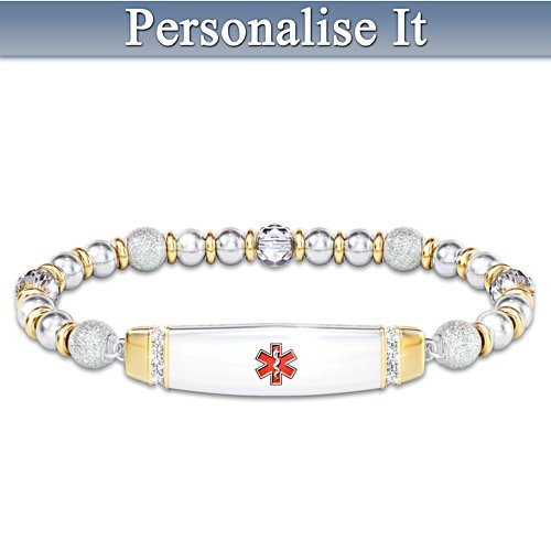 Medical Alert Beaded Bracelet With Personalised Engraving