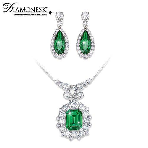 """Hollywood Romance"" Diamonesk Necklace & Earrings Set"