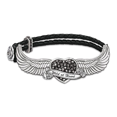 """Free As The Wind"" Black Gem Leather Bracelet"
