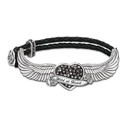 """Free As The Wind"" Black Swarovski Crystal Leather Bracelet"