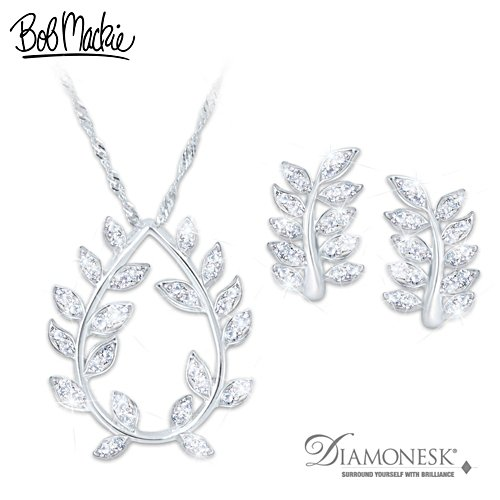 Bob Mackie Diamonesk Pendant Necklace And Earrings Set