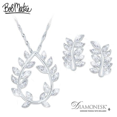 Bob Mackie Diamonesk Pendant Necklace And Earrings Set