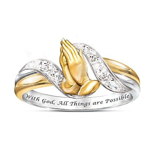 Praying Hands 'Faith's Embrace' Inspirational Diamond Ladies' Ring