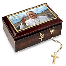 Pope Francis Music Box With Golden Rosary And Prayer Card