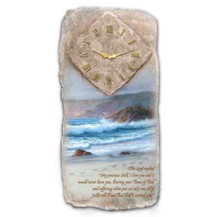 Faith Wall Clock Footprints In The Sand Wall Clock