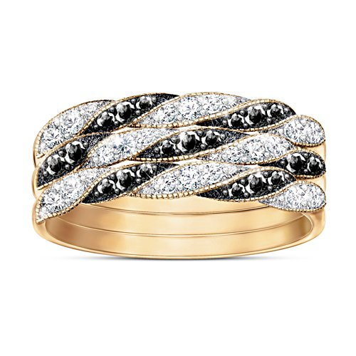 """Day to Night"" Diamond Stacking Ring Set"