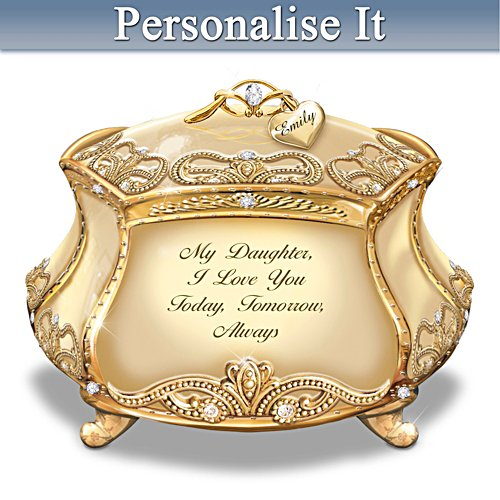 """Daughter, I Love You"" Gold-Plated Heirloom Personalised Music Box"