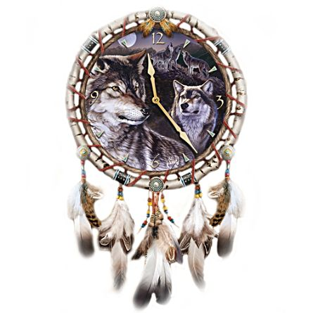 Al Agnew Mystic Call Wolf Dreamcatcher Clock
