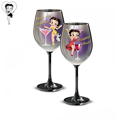 Betty Boop™ 'Classy And Sassy' Wine Glasses: Set Two