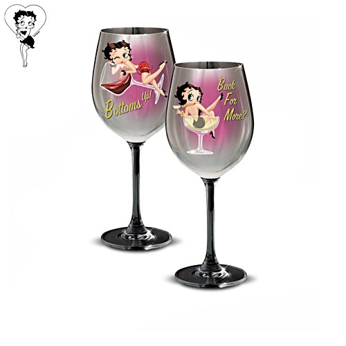 """""""Betty Boop™ Bottoms Up! & Back For More?"""" Wine Glass Set"""