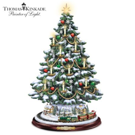 Thomas Kinkade Tabletop Tree With Lights Motion And Music