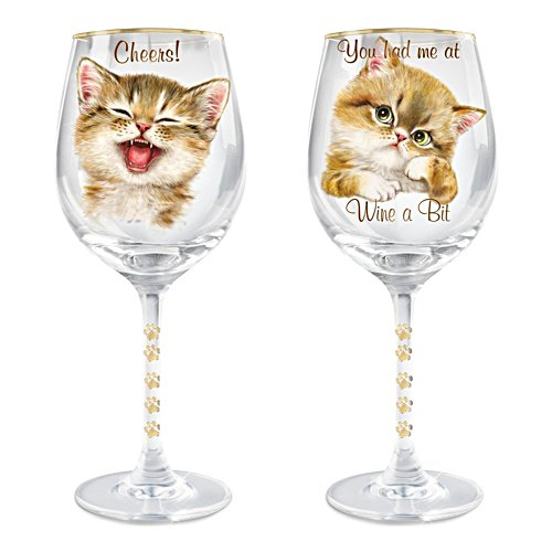 Kayomi Harai 'Sassy Cat' Wine Glass