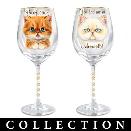 Kayomi Harai 'Sassy Cat' Wine Glass Collection