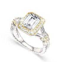 Touch Of Gold Women's Diamonesk Ring: Emerald Elegance