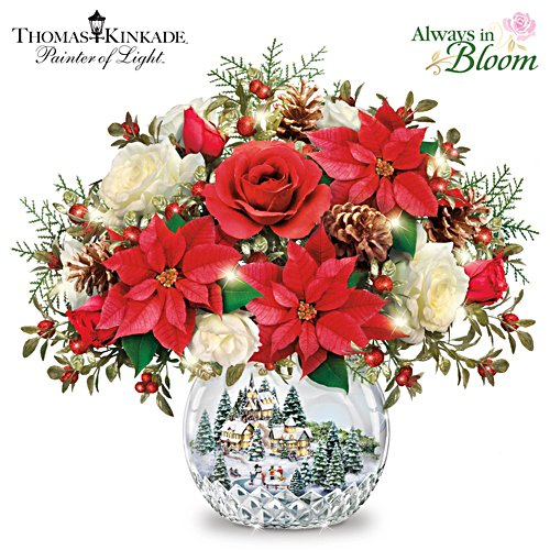 "Thomas Kinkade ""All Is Bright"" Lighted Musical Centrepiece"